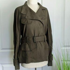 Vince Linen Blend Belted Olive Jacket Size M NWT